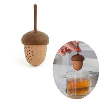 Wholesale Pine Bag - Silicone Squirrel Acorn Shape Tea Infuser Loose Pine Nuts Tea Bag Strainer Herbal Filter Spice Diffuser