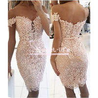 Wholesale modest white lace cocktail dress resale online - Modest Short Mermaid Homecoming Dresses Off Shoulder sleeveless Empire Covered Button Full Lace Knee Length Cocktail graduation Dresses