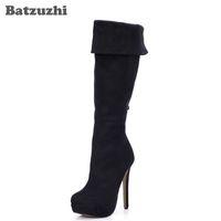 Wholesale Super Platform Boots - Super Star Fashion Winter Women Knee-High Boots Black Suede Thin Heels Zip Platform High Heels Women Boot Zapatos Mujer