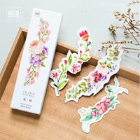 Wholesale Cute Bookmark Diy - Wholesale- 30PCs Box Colorful Flowers Paper Bookmark Card DIY Postcard Bookmarks Cute Stationery Office and School Supplies Message Cards
