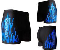 Wholesale Cheap Men Boxer Trunks - High Quality Cheap Swimwear Men Swimming Trunks Hot Swimsuits Boxer Shorts Flame Print Swim Suit Beach Wear Plus Size XL-XXXL