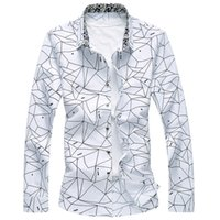 tops 7xl großhandel-Männer Gedruckt Langarmhemd Dünnes Geschäft Freizeit Shirt Plus Größe 5XL 6XL 7XL Männlichen Casual Marke Shirt Tops 2017 neue