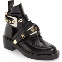bottes de cheville femmes achat en gros de-Blogger préféré noir découpé femme bottes de moto chaussures d'équitation à faible talon en cuir style militaire boucle sangle cheville bottes de moto chaussures