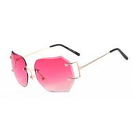 óculos únicos venda por atacado-MENINA REAL Mulheres Exclusivas Sem Aro Óculos De Sol Oversize Do Vintage Quadros Shades Ombre Eyeglasse ss354