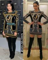 oscar için gece elbiseleri toptan satış-2018 Uzun Kollu Yüksek Boyun Kısa Elbise Kylie Jenner Destek gösterir Gelinlik Modelleri Oscar Ünlü Elbiseleri Kırmızı Halı Kadın Abiye
