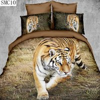Wholesale tiger print sheets - Wholesale- high definition lion tiger leopard pattern design 3d series bedding set queen size include pillowcase duvet cover bed sheet