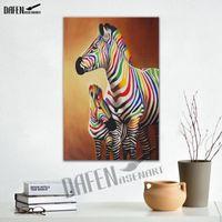 zebra öl leinwand großhandel-Bunte Zebra 100% Handgemaltes Ölgemälde auf Leinwand Tier Zebra Leinwand Kunst Malerei für Wohnzimmer Wohnkultur Wandkunst