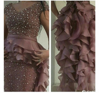 Wholesale Tulle Evening Dress Short Sleeved - 2017 Prom Dresses Rusty Purple Pearls Beaded Sheath V Neck Cap Sleeved With Ruffled Organza Skirt with Peplum and Back Split Evening Gowns