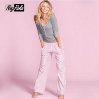 Wholesale Sexy Pyjamas For Women - Pajamas sets for women sleepwear pijamas mujer Hot sale Spring 100% cotton simple Long sleeve casual pyjamas women V-neck