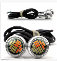 Wholesale Dual Lamp - 10Pair 23mm Dual Color Switchback 4014 12 LED Eagle Eye Lamp Car Daytime Running Light 12V
