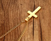 Wholesale Hot New Mens Chain Necklace - 2017 New Hot And Fashion Mens Cross Pendant Necklace Stainless Steel Link Chain Necklace Statement Jewelry