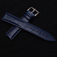 rindsleder-armband-schnalle großhandel-Dunkelblaues Armband aus Rindsleder hochwertiges Leder Armband Uhrenarmband Pin Metallschnalle Silber Zubehör 14 16 18 19 20mm
