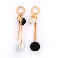 Black black pearls giving - Summer New arrival American European vintage personality girl Big circle pearl tassel Long earring Daily Give people The lowest price