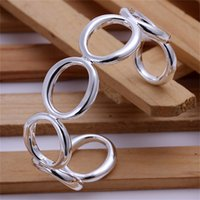 Wholesale Seven Bangles - Free shipping Wholesale 925 Sterling silver plated fashion jewelry Seven O bangle LKNSPCB013