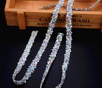 zincir düğün bandı toptan satış-Ücretsiz gemi! 5 yard / lot BlingBling AB rhienstone mesh Trim strass zincir bantlama kristal düğün aplike elbiseler el sanatları 10mm genişlik