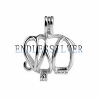 hayvan desteği toptan satış-Isteyen Inci Kafes Kolye 925 Ayar Gümüş Hediye Mücevherat Fil Hayvan Kolye Inci Parti için Montaj