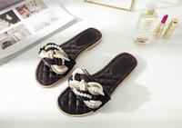 Wholesale Trendy Slip Shoes - fashionville~u724 40 genuine leather beads pearls mules sandals slides shoes flip flops black red summer fashion trendy