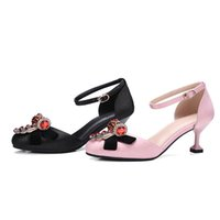 Wholesale Kitten Ballet Flats - 2017 fashion women pink satin wedding shoes with crystals bow round toe bridal shoes for evening prom party