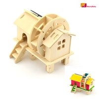 Wholesale Solar Powered Wooden Kits - Wholesale-DIY Solar Energy Colored Painting Mill Wheel Toys Wooden Assembled Model 3D Puzzle Assembling Solar Powered Kits Toys For Kids
