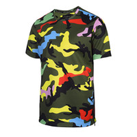Wholesale Bright Beach - Bright Yellow Camouflage t shirt for Men Top Tee Casual Hip Hop Shirts Summer Outdoor Beach T-shirt Zipper Clothing BL-017