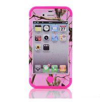 apple 4s чехлы для телефонов оптовых-3 в 1 мшистый дуб розовый камуфляж телефон протектор чехол для APPLE iPhone 4 и 4S