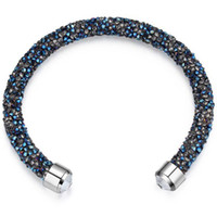 Wholesale Jewelry Making Rings - Made With Crystals from Swarovski Elements Rolled Rocks Cuff Bangle Womens Bracelet Jewelry Fashion Female Birthday Gift 24628