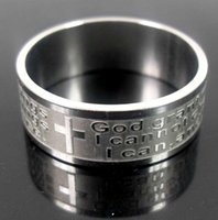 Wholesale Wholesale Ring Etching - Brand New Mens Womens Etch Christian Serenity Prayer Scriptures CROSS Stainless Steel Ring Silver Jewelry Band Ring