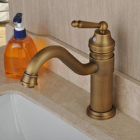 Wholesale Antique Sink Water Taps - 2017 New Arrival Vintage Copper Taps Antique Brass Bathroom Sink Faucet With Hot And Cold Water Brass Single Handle Copper Plated Taps
