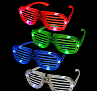 Wholesale New Years Led Glasses - High Quality! LED Light Glasses Flashing Shutters Shape Glasses LED Flash Glasses Sunglasses Dances Party Supplies Festival Decoration
