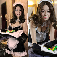 Wholesale Maid Costume Lingerie - Wholesale- Hot Sexy Women Lingerie Sets Temptation French Apron Cosplay Maid Servant Lolita Costume Babydoll Dress Sex Product Lenceria 36