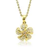 Wholesale Petal Flower Necklace - Pretty Fashion Petal Pendant Necklace White Rhinestone Gold Plated Necklace For Women Romantic Lover Valentines Jewelry