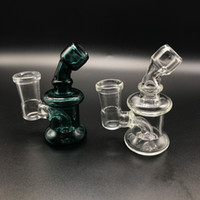 Venda Por Atacado Mini Glass Bongs Dab Rigs com 14mm Female Joint Clear Green 3.3 Inch Cheap Small Recycler Water Pipes Glass Oil Rigs