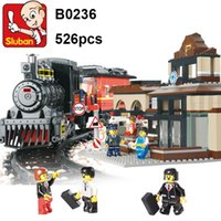 Wholesale Enlighten Blocks Train - Sluban 526Pcs Explorers League Century Train Station model Education 3d Diy Enlighten Building Blocks Sets Construction Brick Toys Lepin Toy