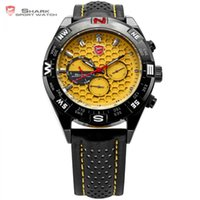 Wholesale Mens Wrist Watch Quartz Shark - Wholesale- Shortfin SHARK Sport Watch Date Day Black Stainless Case Leather Band Strap Yellow Analog Quartz Relogio Mens Wrist Watch  SH083