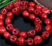 Wholesale Black Loose Skull Beads - Strand Howlite Turquoise Gemstone Skull Loose Beads For Charm Jewelry Making 10x12mm