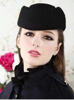 Wholesale Men Cap Small - Wholesale-women beret cap hat Winter Wool small painter cap stewardess cap black warm woolen girl