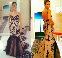 Wholesale Evening Dresses Black Nude Sexy - 2017 Sexy Mermaid Black Applique Dresses Evening Wear Lining Nude Color Spaghetti Sweetheart Open Back Ruched Runway Fashion Prom Gowns