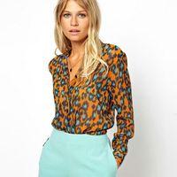 b57d81d7af 2016 New Fashion Summer Women Brand Chiffon Shirt Lady Leopard Printing  Plus Size Blouse Long Sleeve Clothing Drop Shipping
