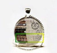 Wholesale Postcard Books - Hot Sale Book Necklace,Bookstack on Postcard Librarian Jewelry,Bibliophiles Bookworms Art Pendant Glass cabochon Necklace