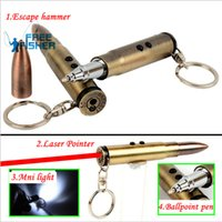 Wholesale Bullet Laser - 4 in 1 Multifunction Bullet Shaped Pen Survival EDC Laser+Light+Life-Saving Hammer+Ballpoint Self Defense Camping kit