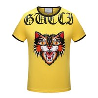Wholesale T Shirt Plus Size Tiger - 2017 Wholesale Clothing G and G Men's t-shirt Embroidery tiger print hip hop clothing mens designer shirt plus size M-3XL