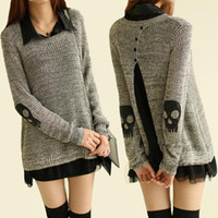 Wholesale Loose Skull Shirts - Wholesale-Popular Women Skull Chiffon Shirt Knitted Pullover Sweater Dress Two Piece Knitwear Long Sleeve Loose Jumper High Street Outwear