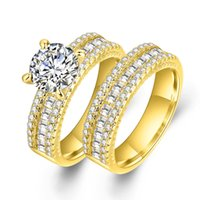 Wholesale perfect channel - 2017 Perfect Matching Couple Rings Micro AAA Crystal Cubic Zirconia Diamond Ring 18K Gold Rings For Men & Women YDHR302