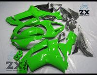 ingrosso parabrezza kawasaki zx6r-Kit carenatura popolare per ZX-6R 07 08 Kawasaki Ninja zx636 ZX 6R 636 carenatura plastica tutto nero lucido ZX6R 2007 2008 Parabrezza libero