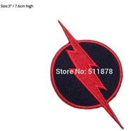 """Wholesale Wholesale Superhero Patches - 3"""" REVERSE FLASH SUPERHERO DC Comic Movie TV Series Costume Embroidered iron on sew On patch Tshirt TRANSFER MOTIF APPLIQUE"""