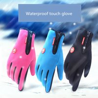 Wholesale Winter Running Gloves - Men Women winter warm cashmere windproof outdoor Touch gloves climbing camping ski zipper cycling glove Mittens