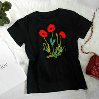 Wholesale Russian Style Casual Fashion - National Style Casual Floral Printed Embroidery T-Shirt Womens Crew Neck Short Sleeve Shirt Novelty Russian Women Tops