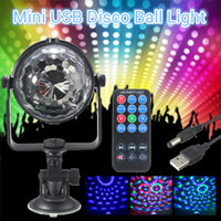 Wholesale Strobe Light Effect - RGB LED Stage Light Mini 3W Remote Controls Light Disco Ball Lights LED Party Lamp Show Stage Lighting Effect USB Powered DC5V