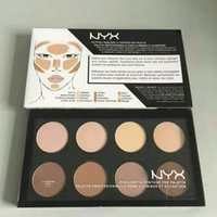 cosméticos nyx al por mayor-Dropshipping NYX Highlight Contour Pro Pattle revisión Cara Pressed Powder Foundation Cepillado en polvo de la paleta de maquillaje cosmético 8 colores