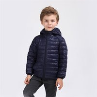 Wholesale Boys Size 6t Clothes - 2017 kids clothes Children's down jacket, thin and light, hat, mid-size child, 90-down, candy-colored girl, boy, down jacket